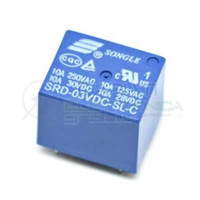 Relay Relè 3V Dc 10A Circuito Stampato Pcb 1 Scambio SRD-03VDC-SL-C SRD Songle 0,89€