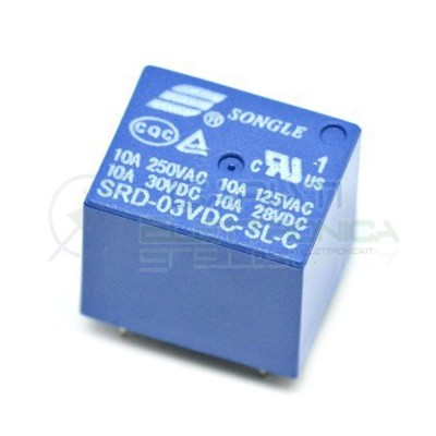 Relè SRD-03VDC-SL-C con Bobina 3V contatto Spdt 10A singolo Scambio Circuito Stampato Songle