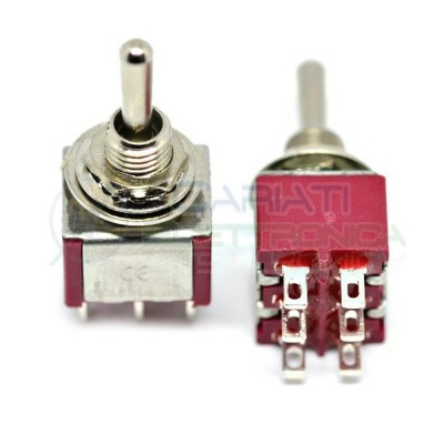Interruttore Deviatore a Leva ON OFF ON 2A 250V 6 Pin con Ritorno DP3T