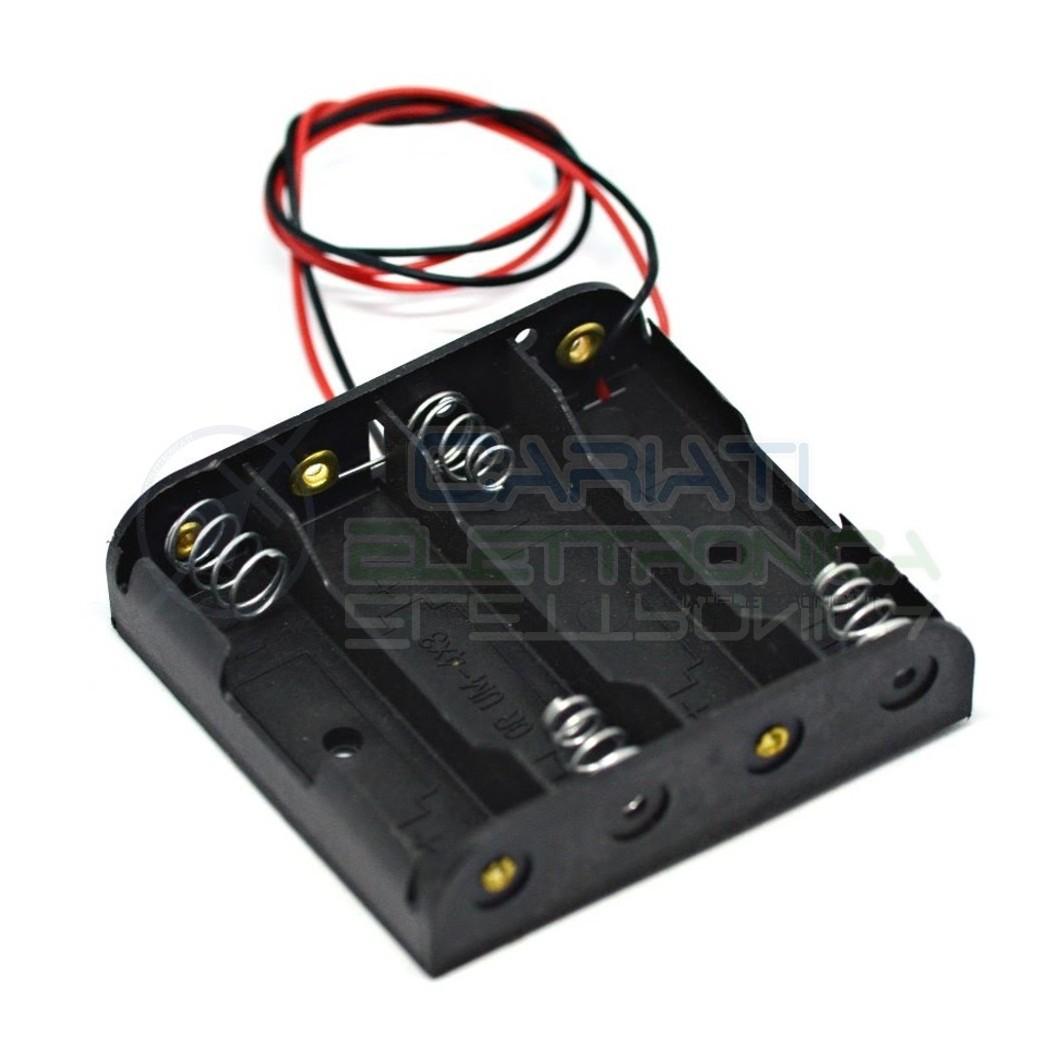 Porta Batteria stilo 4 posti con Cavo Pile AA LR06 PortaBatteria Cariati Elettronica