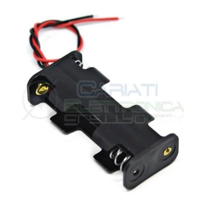 2 Pezzi Porta Batteria Porta Batteria Per 2 Pile Pila AA con Cavi