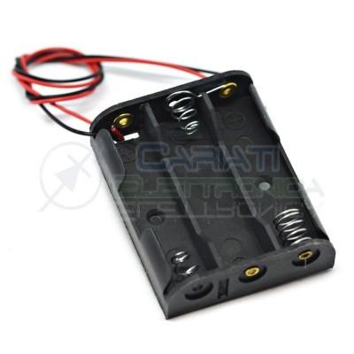 2 Pezzi Porta Batteria Per 3 Pile AA con Cavi