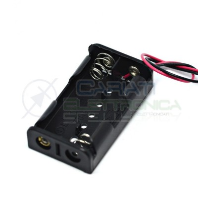 2 Pezzi Porta Batterie PortaBatterie Per 2 Pile Pila AA con Cavi