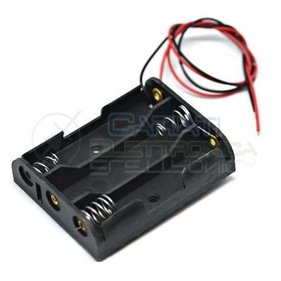 2 Pezzi Porta Batteria PortaBatterie Per 3 Pile AAA con Cavi