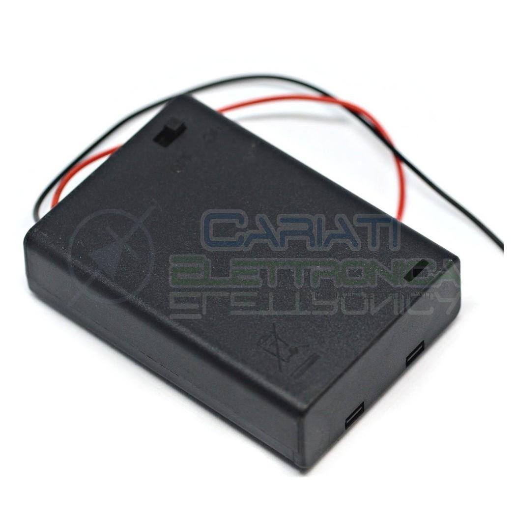 1 PEZZO Porta Batteria PortaBatteria Per 3 Pile AA con Interruttore e Cavi