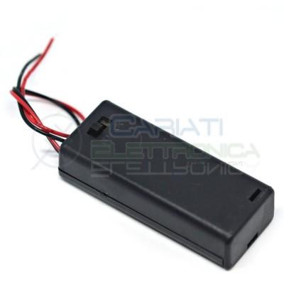 1 PEZZO Porta Batteria PortaBatterie Per 2 Pile AAA con Interruttore e Cavi