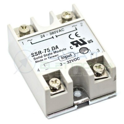 Relè Statico 75A 3-32Vdc 24-380Vac SSR-75 DA Stato Solido Relay