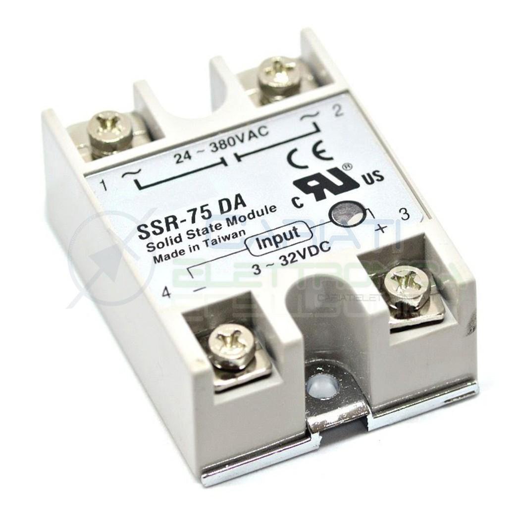 Relè Statico 75A 3-32Vdc 24-380Vac SSR-75 DA Stato Solido Relay  7,99€