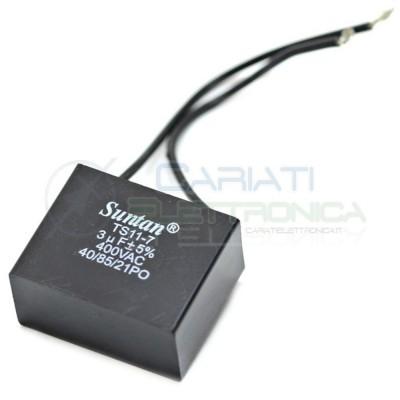Condensatore per avvio motore 3uF 400Vac 38x18x30 5% terminale a filo 2,49 €