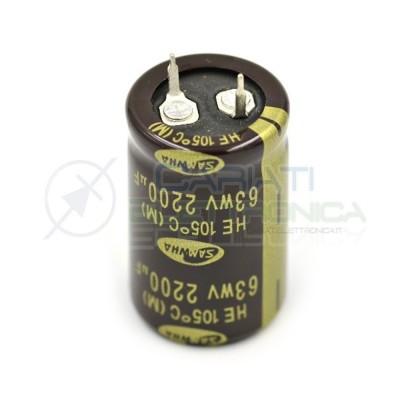 Condensatore elettrolitico SNAP IN 2200 uF 2200uF 63V 105° SAMWHA Samwha