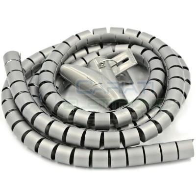 Guaina a Spirale Avvolgicavo TUBO PASSACAVI GRIGIO Diametro 20mm Lunghezza 2m  5,90€