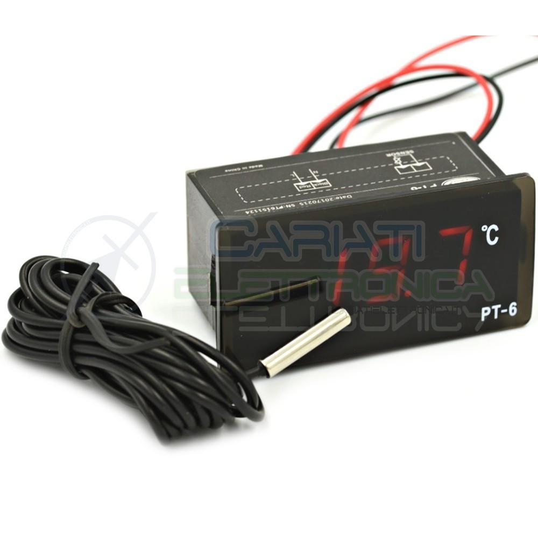 DISPLAY TERMOMETRO DIGITALE LED ROSSO 220V -40 a 110°C con sonda temperatura NTC  8,99€