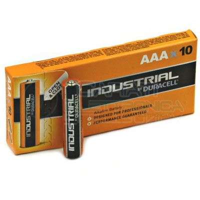 10 BATTERIE PILE DURACELL INDUSTRIAL PLUS MN2400 AAA 1.5V