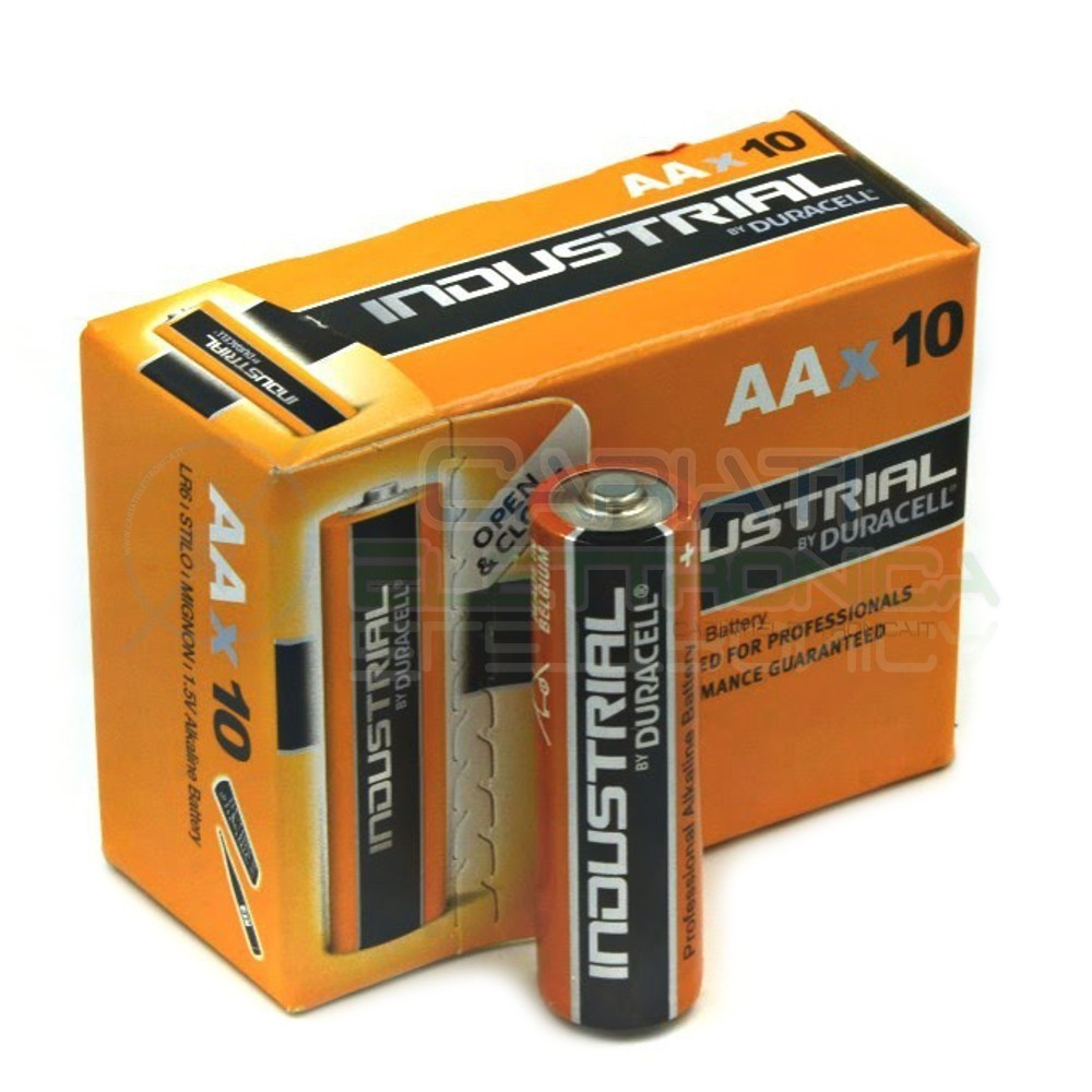 10 BATTERIE PILE DURACELL INDUSTRIAL PLUS MN1500 AA 1.5V Duracell