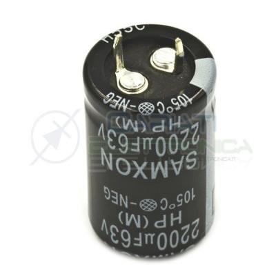 Condensatore elettrolitico SNAP IN 2200 uF 63V 105° SAMXON Samwha 1,29€