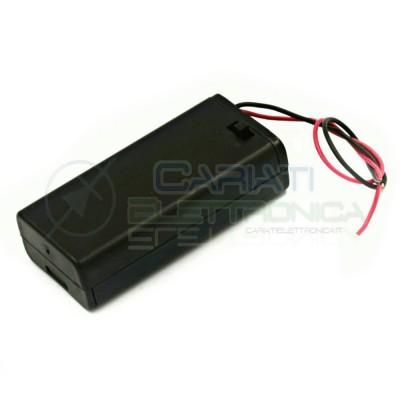 Porta Batteria Per 2 Pile AA con Interruttore e Cavi