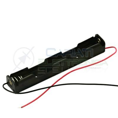 2 Pezzi Porta Batteria PortaBatteria per 2 Pile Pila AAA in serie con Cavi