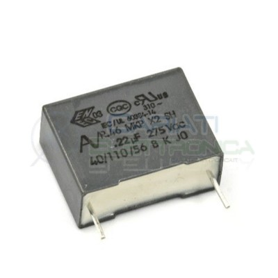Condensatore polipropilene 220nF 0.22uF 275Vac X2 Passo 15mm 10% R46  1,00€