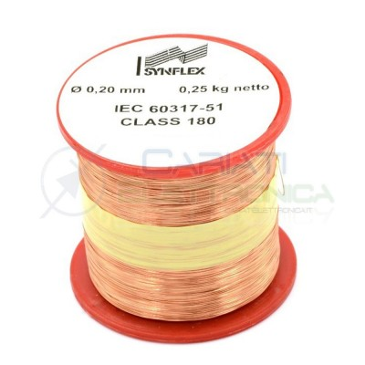 Rotolo filo Cavo bobina di rame da 0,2mm 0,25Kg singolarmente smaltato per avvolgimentiSynflex