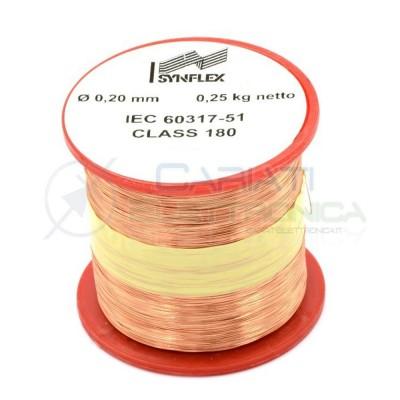 Rotolo filo Cavo bobina di rame da 0,2mm 0,25Kg singolarmente smaltato per avvolgimenti