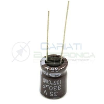 5 PEZZI Condensatore elettrolitico SAMWHA 330uF 330 uF 35V 105°C 10x13.5mm PASSO 5mm  1,00€