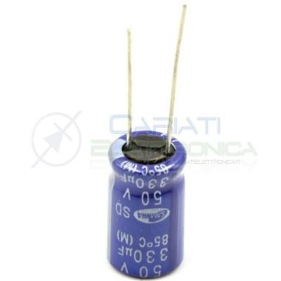 50 PEZZI Condensatore elettrolitico SAMWHA 330uF 330 uF 50V 85°C 10x16mm PASSO 5mm  5,99€