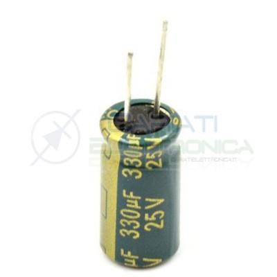 10 PEZZI Condensatore elettrolitico YAGEO 330uF 330 uF 25V 105°C 8x15mm PASSO 3,5mm