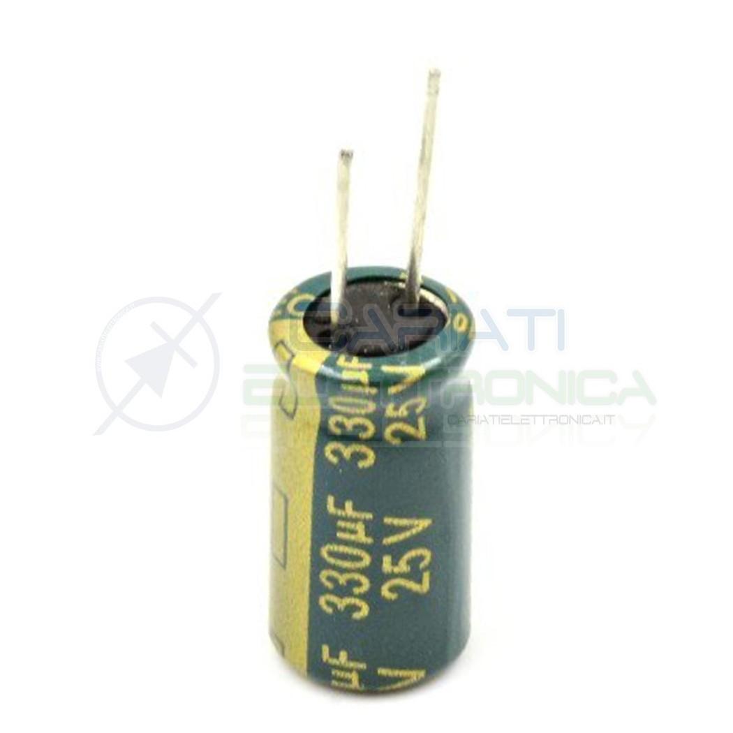 10 PEZZI Condensatore elettrolitico YAGEO 330uF 330 uF 25V 105°C 8x15mm PASSO 3,5mm  1,09€