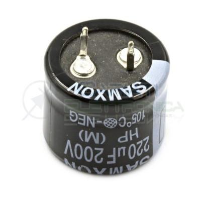 Condensatore elettrolitico SNAP IN 220 uF 220uF 200V 105° 25x20mm Passo 10mm Samxon