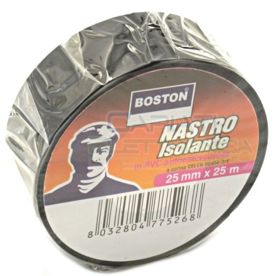 1 PEZZO Nastro Isolante professionale BOSTON da 25mm x 25 metri 25x25 NeroBoston