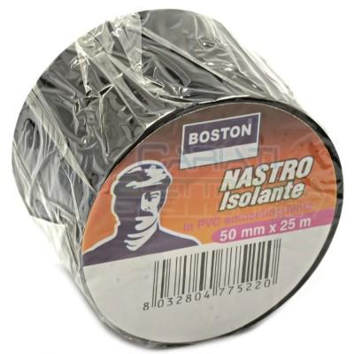 1 PEZZO Nastro Isolante professionale BOSTON da 50mm x 25 metri 50x25 Nero  2,99€