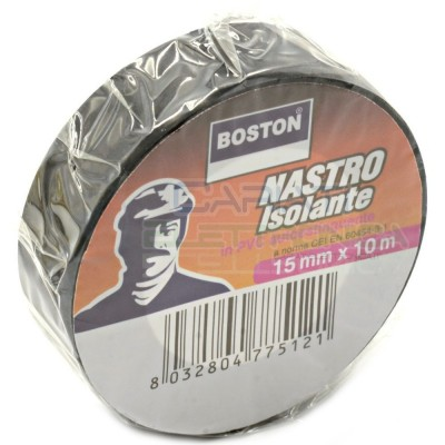 Nastro Isolante 15mm x 10 metri professionale BOSTON da 15x10 Nero Boston