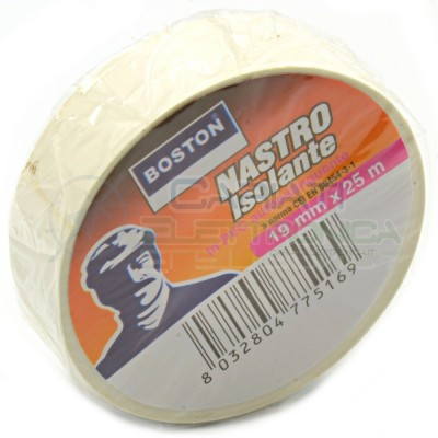 Nastro Isolante professionale BOSTON da 19mm x 25 metri 19x25 Bianco