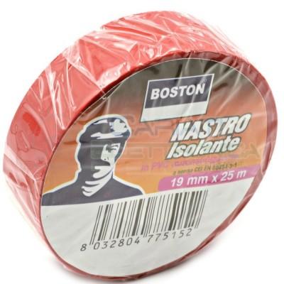 1 PEZZO Nastro Isolante professionale BOSTON da 19mm x 25 metri 19x25 Rosso