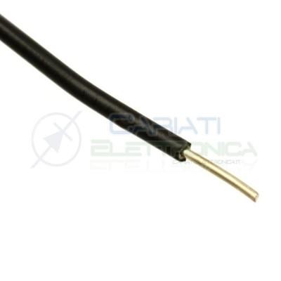 2 metri di Cavo filo singolo unifilate rigido AWG22 0.6mm con guaina Nera