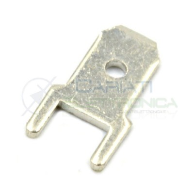 50pcs Terminal Flat Faston 4,8mm Male for PCB 4,8x0,8mm THT brass silver platedCariati Elettronica