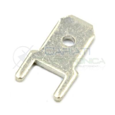 100pcs Terminal Flat 4,8mm 4,8x0,8mm THT brass silver platedCariati Elettronica