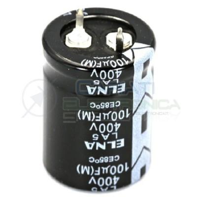 CONDENSATORE ELETTROLITICO ELNA 100uF 100 uF 400V 85°C 22x30 mm Passo 10mm 1,19 €