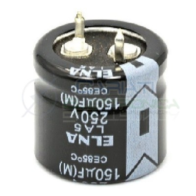 Condensatore elettrolitico SNAP IN 150 uF 250V 85° 22x20mm Passo 10mm Elna 1,59€