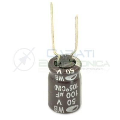 100 PEZZI Condensatore elettrolitico SAMWHA 100uF 100 uF 50V 105°C 8x11mm PASSO 5mm