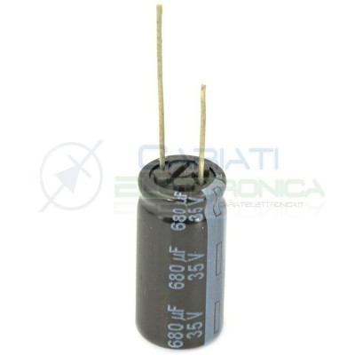 2 PEZZI Condensatore elettrolitico PANASONIC 680uF 680 uF 35V 105°C 10x20mm PASSO 5mm  1,00€