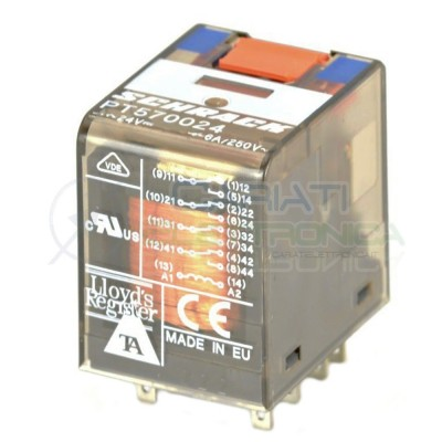 Industrial relay PT570024 4PDT Voltage coil 24V 14 pin 6A 250V SCHRACK TE ConnectivitySchrack