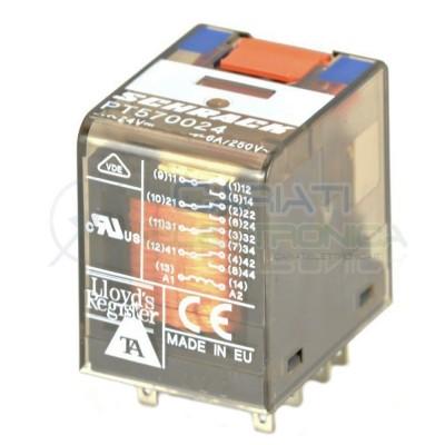 Relè industriale PT570024 4PDT Bobina 24V 14 pin 6A 250V SCHRACK TE Connectivity Schrack