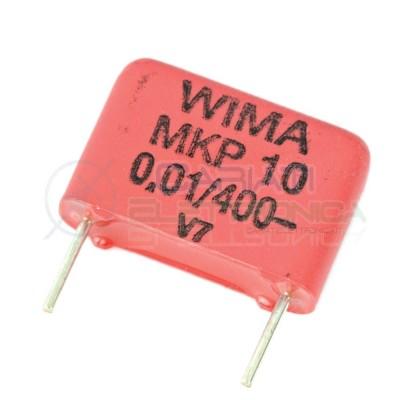 2 PEZZI Condensatore in poliestere WIMA 10nF 400V Passo 10m 20% MKP10 0.01/400