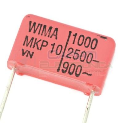 2 PEZZI Condensatore in poliestere WIMA 1nF 2,5KV Passo 15mm 5% MKP10