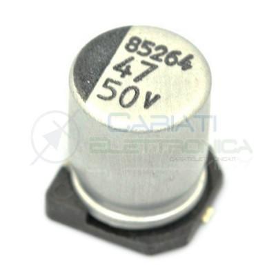10 PEZZI Condensatore elettrolitico in SMD 47uF 50V 6x8mm 85°C SAMWHA 47 uF