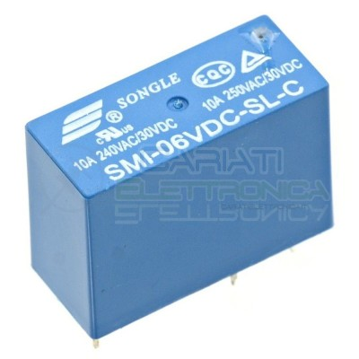 Relay Relè 6V Dc 10A 1 Scambio SMI-06VDC-SL-C Songle SPDT Circuito Stampato Pcb Songle
