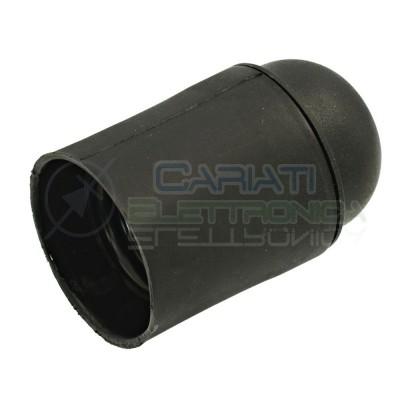 Portalampada E27 nero liscio lucido attacco E27 250V 4A Lampo