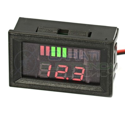 INDICATORE DI LIVELLO BATTERIA VOLTMETRO Display led per batterie a piombo 12V  6,99 €