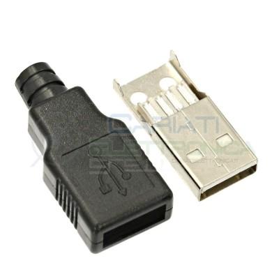 2 Pezzi CONNETTORE USB 4 PIN SPINA USB TIPO A DA ASSEMBLARE A SALDARE  1,00€